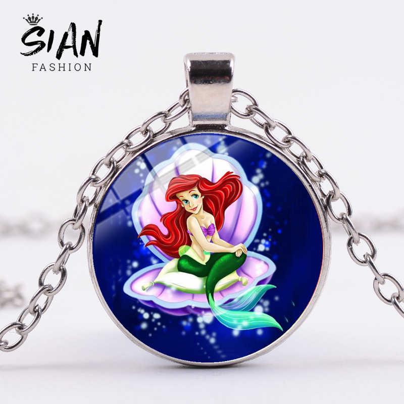 Sian Panas Little Mermaid Ariel Anak-anak Panjang Kalung Dongeng Putri Kristal Kaca Bulat Liontin Kalung Hadiah untuk Anak Perempuan