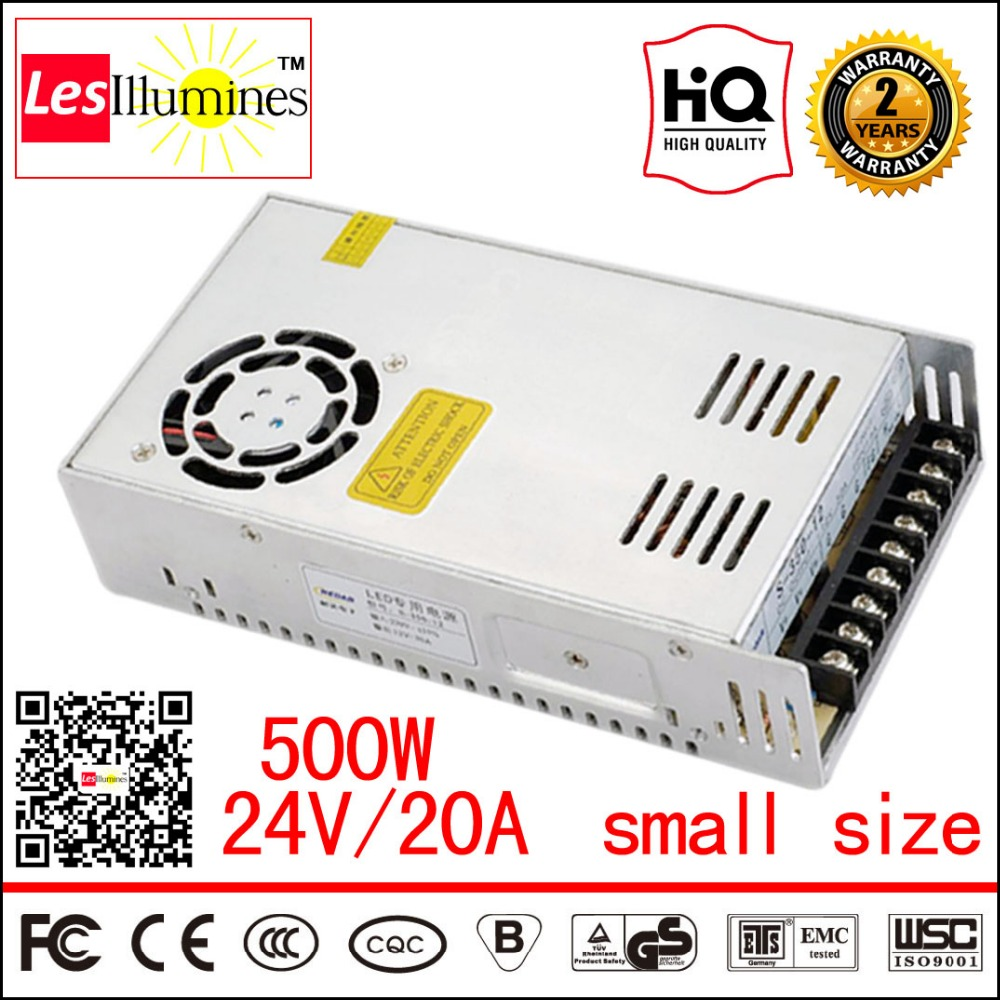 Small Size 110V 220V AC to DC 24V LED Transformer Source Light Driver 480W 20A CE Mini S-500-24 500W 24V Power Supply Switching 90w led driver dc40v 2 7a high power led driver for flood light street light ip65 constant current drive power supply