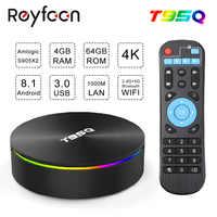 Android 8.1 TV BOX T95Q Amlogic S905X2 Quad Core X2 2.4G&5GHz Dual Wifi BT4.1 1000M H.265 4K 60pfs Media Player Smart TV Box