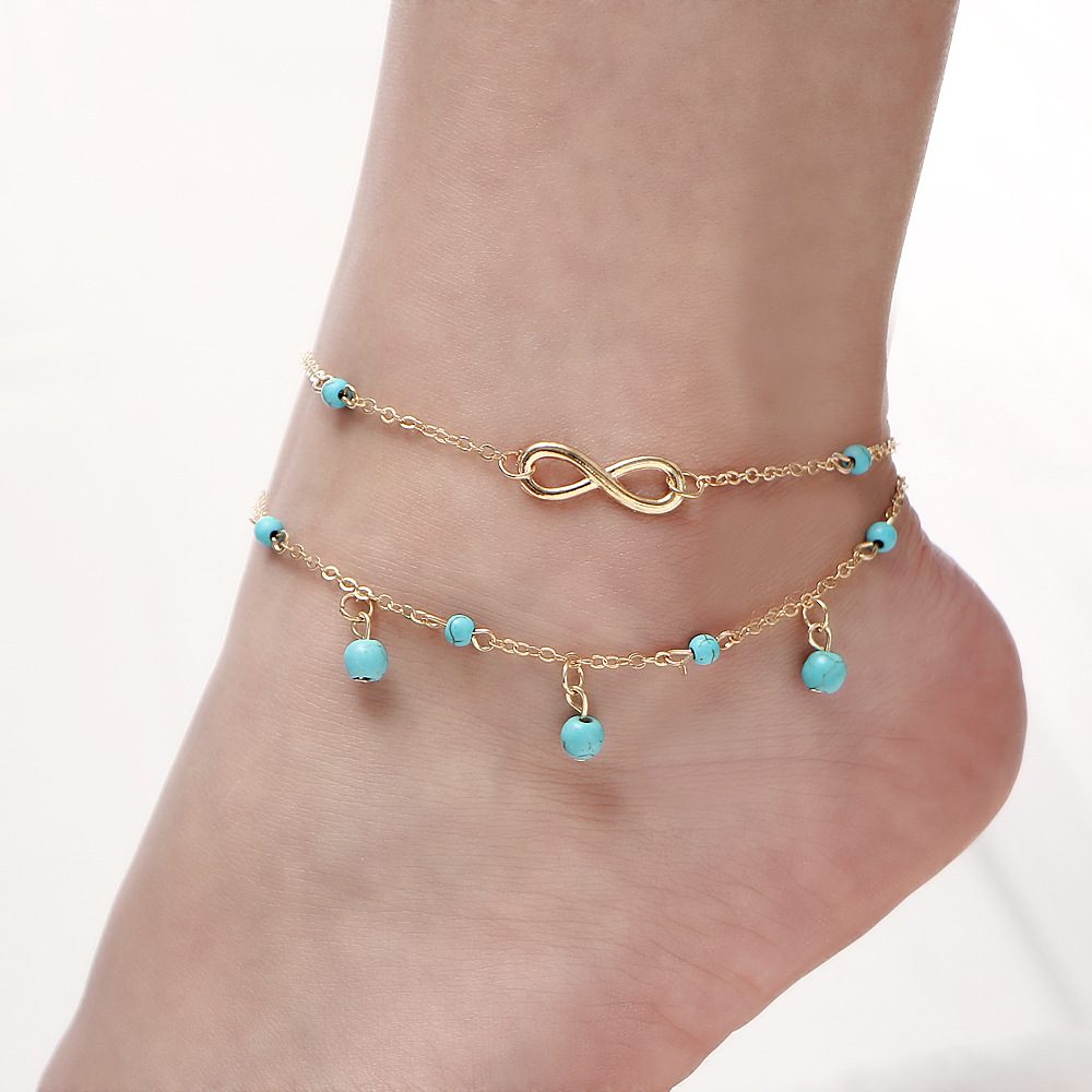 New Multilayer Foot Chain Anklets for Women Bohemian Infinity Beads Stone Ankle Bracelets on Leg Jewelry