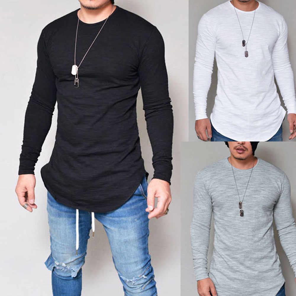 Футболка мужская повседневная нестандартная тонкая эластичная футболка с круглым вырезом в стиле хип-хоп модная уличная одежда с длинным рукавом мужская футболка одежда camisas