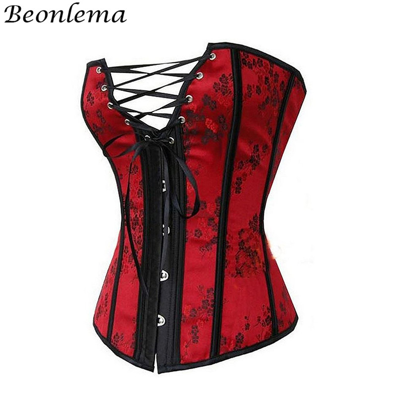 BEONLEMA Red Steel Boned Bustier Corset Plus Size XXXXXXL Floral Lace Up Korsett for Women Steampunk Espartilhos E Corpetes Sexy