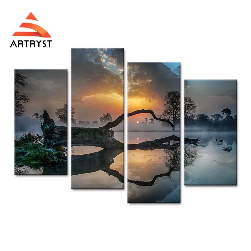4 paneles de arte modular pared puesta de sol, lago, niebla, imagen - Decoración del hogar - foto 1