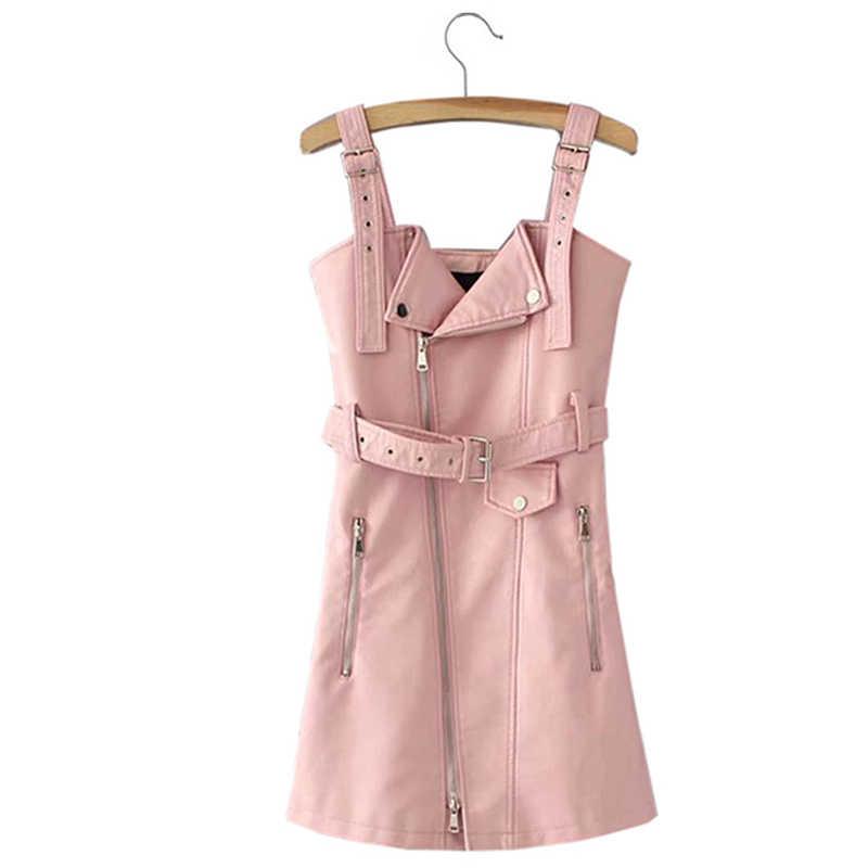 Falso couro do plutônio das mulheres mini vestido com cinto sem mangas zíperes sexy vestidos femininos 2020 primavera verão moda senhoras vestidos