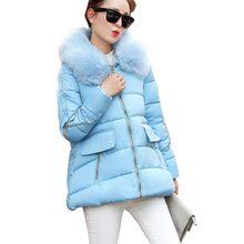 2016 новое прибытие онлайн свободные сгустите теплые куртки пальто плащ меховой воротник с капюшоном вниз хлопок парки искусственного меха воротник пальто kp0947