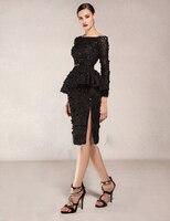 С длинными рукавами длиной до колен 2018 Новое Черное кружево украшение бисером для выреза лодочкой вечернее платье на выпускной; vestido de festa дл