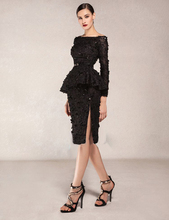 hot sexy long sleeves knee-length prom dresses 2015 new design black lace beading boat neck evening dress vestido de festa black long sleeves lace up design dresses