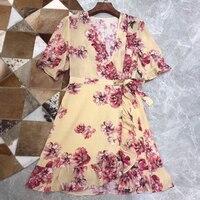 Retro Floral Printed Dresses Elegant 100 Silk Dress for Women Midi Dress Floral A line Dress with V neck Collar