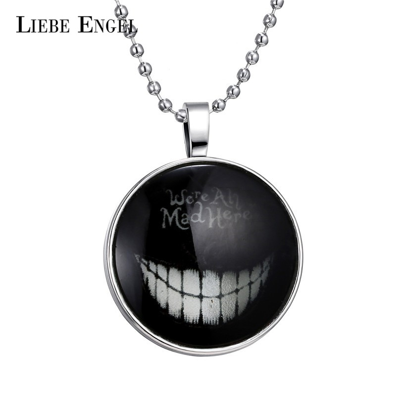 LIEBE ENGEL Devil Smile Glass Cabochon Necklace Luminous Chain Statement Pendant Necklace for Women and Men Glow In The Dark HOT