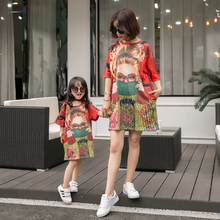 все цены на Beauty Loose Mother Daughter Dresses Family Matching Outfits Mommy and Me Clothes Mom Mum and Girls Dress Clothing Family Look онлайн