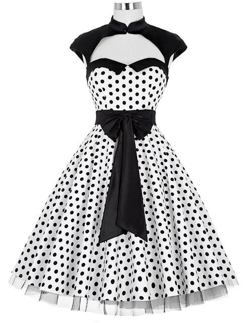 Ladies Summer 50s Polka dots Vintage pinup dress big swing Casual plus size clothing schwarz kleid Dancing Party Dresses kleider