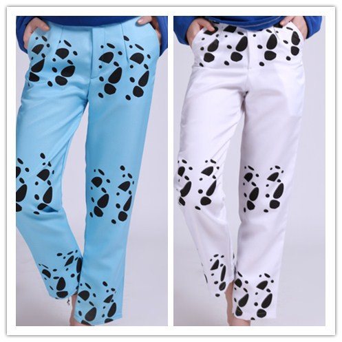 Man One Piece Pants Blue White Slim Trafalgar Law Trousers Anime Cotton Cosplay Costumes For Boys