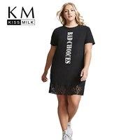 Kissmilk Women Plus Size Black Punk T-shirt Dress Letter Print Lace Hem O-Neck Short Sleeve Casual Club Party Dress Large Size