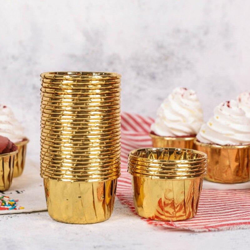 50 шт./компл. бумажные чашки для кексов, золотые обертки для кексов, чехол с вкладышем, круглая форма, чашка, коробка для тортов, инструменты дл...