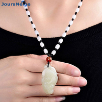 Wholesale White HeTian Natural Stone Pendant Pi Xiu Leaves Pendant Sweater Chain Necklace Lucky for Men Women Transport Jewelry