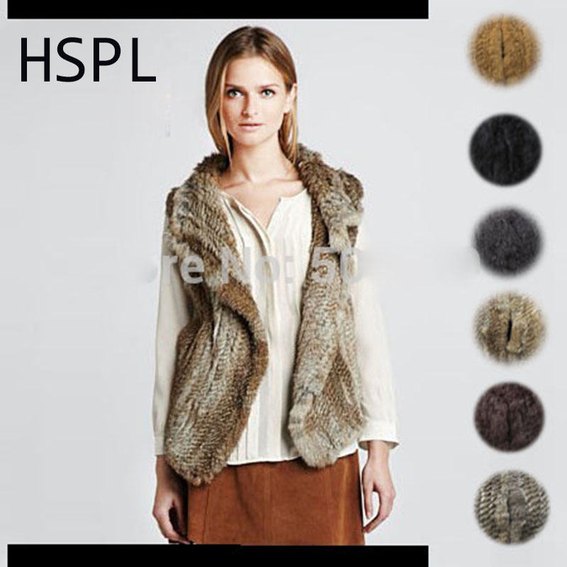 HSPL Women Fur Vest Female Cold Furry Natural Knitted Ladies Winter Oversized Short Black Brown Rabbit Fur Gilet colete de pele