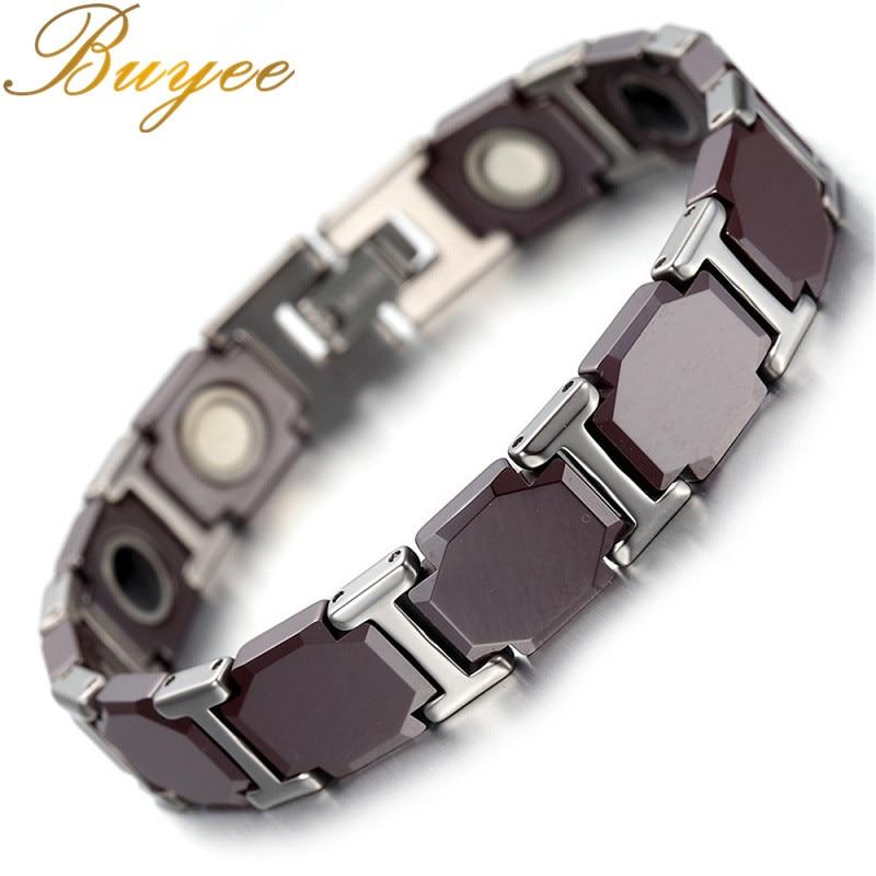 BUYEE Length 25cm Tungsten Bracelets Coffee Chain Magnetic Health Care 11MM Width Bracelet Men Male Jewelry trendy top white ceramic bracelet elegant star health care titanium bracelets