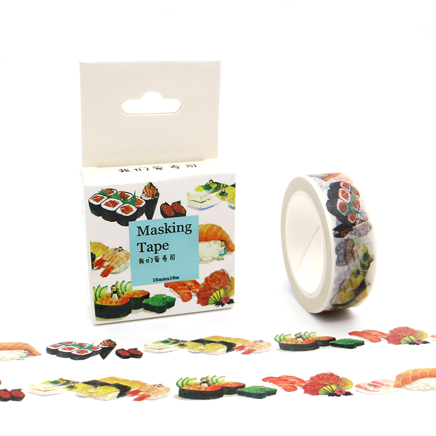 15mm*10m Box Package Delicious Sushi Washi Tape Masking Tape Decorative Scrapbooking Office Adhesive DIY Sticker Label Tape