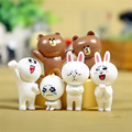 Japan Line App Emoji Brown Bear Cony Rabbit Figures Toys Kawaii Emoticons Dolls 6pcs/lot 5-6cm