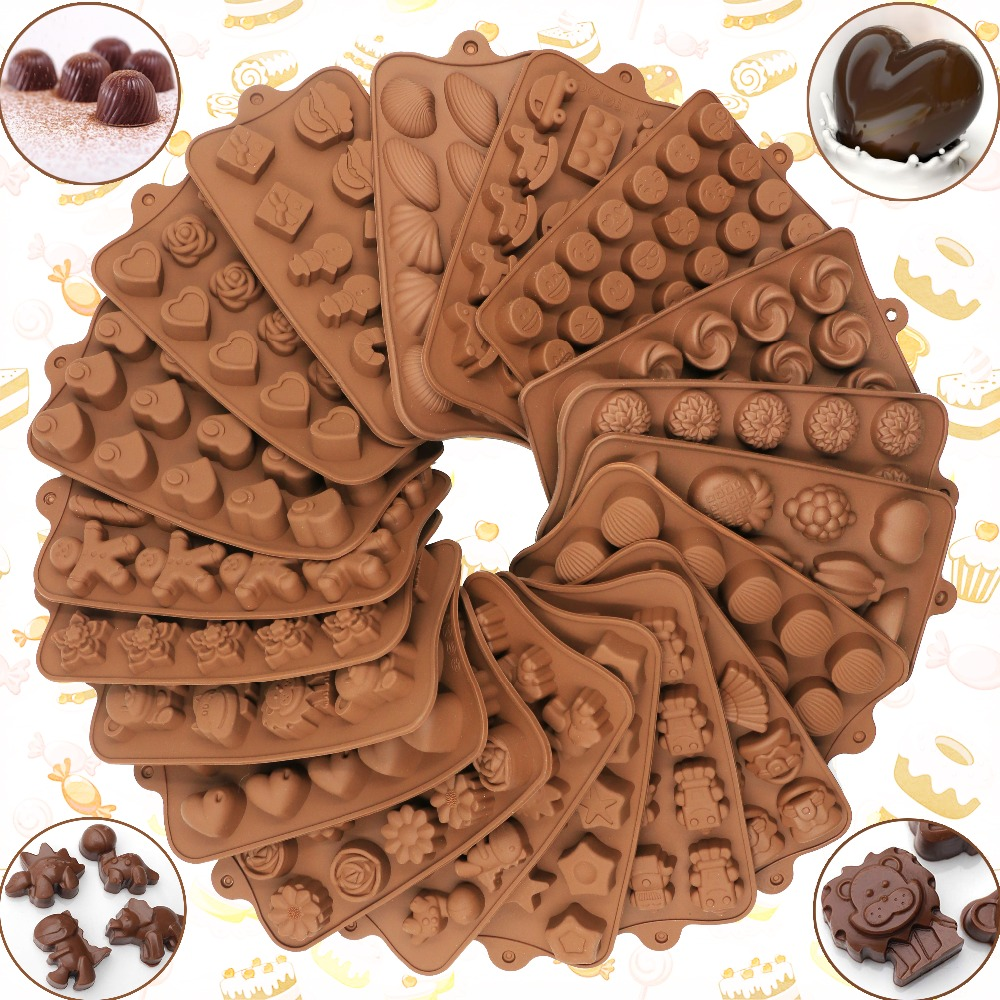 New Silicone Chocolate Mold 29 Shapes Chocolate baking Tools Non-stick Silicone cake mold Jelly and Candy Mold 3D mold DIY best(China)