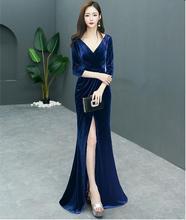 2019 vintage evening dress long Mermaid velour prom dress simple graduation  dress fabric Evening gown vestido 7a73dc9784b7