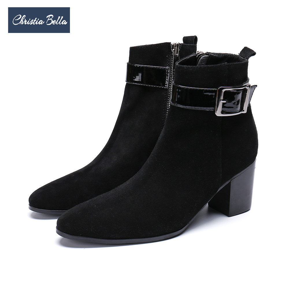 Christia Bella British Party Men Dress Boots Cow Suede Leather Ankle Boots High Heel Cowboy Boots Men Formal Business Shoes