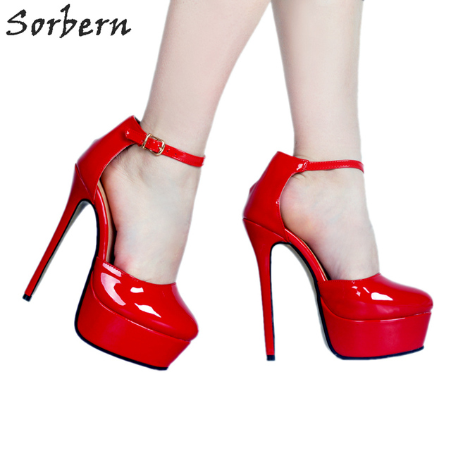 bc2e6b07425 Sorbern Elegant Red Ankle Strap Platform Pumps Custom Colors Shiny Women  Shoes High Heel Sexy Stiletto Heels 2018 Size 34-47