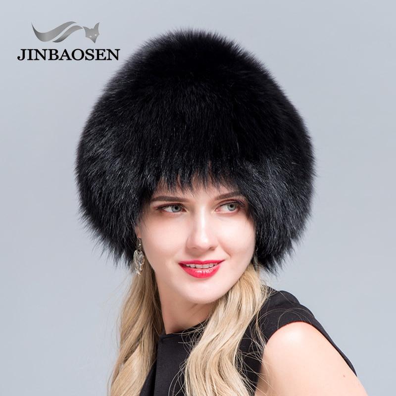 JINBAOSEN 2018 Women s fur hat natural fox hat Russia s winter thic and warm ears
