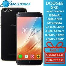 Doogee X30 Quad Камера 2×8.0 Мп + 2X5.0 Мп Android 7.0 мобильный телефон 3360 мАч 5.5 »HD MTK6580A 4 ядра 2 ГБ Оперативная память 16 ГБ Встроенная память смартфона
