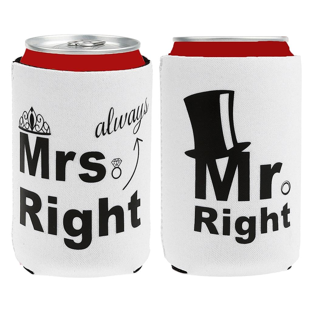 Neoprene Beer Can Cooler Sleeve Holder Wedding Favors mr mrs ...