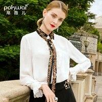POKWAI 2019 весенняя одежда новая стильная шелковая рубашка с длинными рукавами и отворотами Тонкая шелковая рубашка тутового цвета