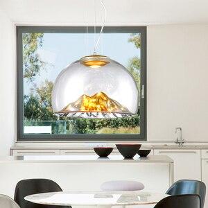 Image 2 - Дизайнерсветодиодный монолитный блок светодиодов D40 см 110 В 220 В 3000 К теплый белый 12 Вт Золотой/Серебряный горный прозрачный стеклянный подвесной светильник Подвесная лампа