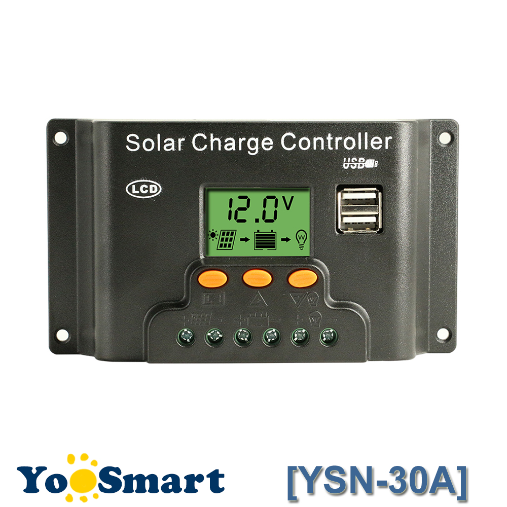 PWM 12V 24V 30A Backlight Solar Controller with USB 5V Light and Timer Control LCD Solar Panel Battery Charge Regulator CE maylar 30a pwm solar panel charge controller 12v 24v auto battery regulator with lcd display
