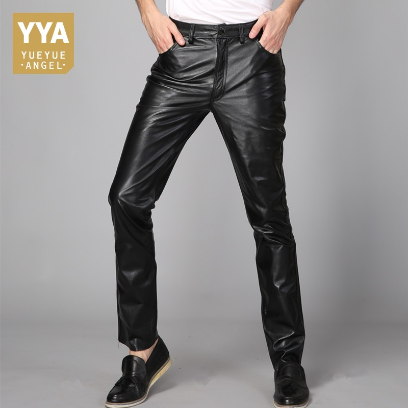 Mens Straight Full Length 2020 Korean Fashion Casual Motorcycyle Streetwear Pencil Pants Mid Waist Real Leather Male Trousers