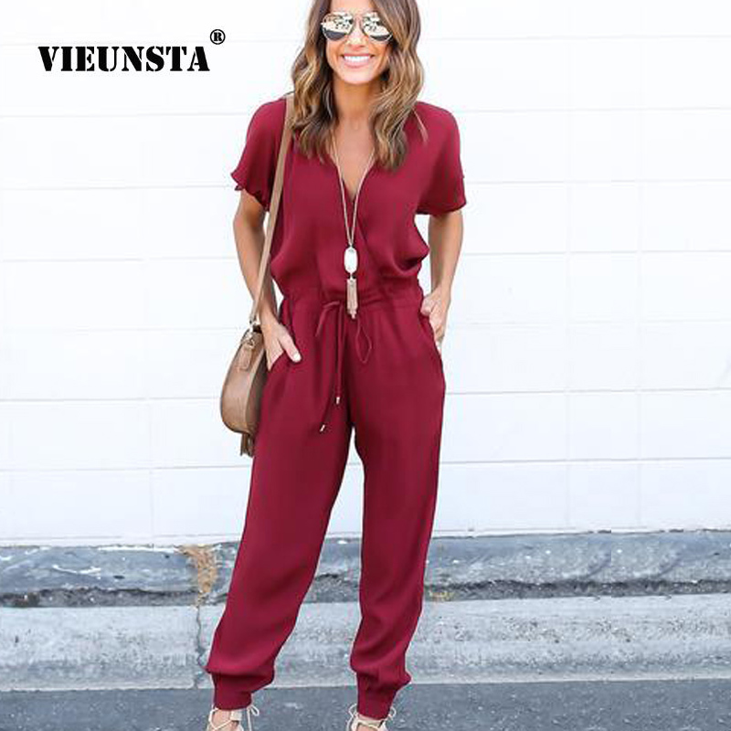 VIEUNSTA 2018 Elegant Chiffon Bandage   Jumpsuits   Women Sexy V Neck Cross Straps Summer Rompers Casual Short Sleeve Solid   Jumpsuit
