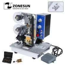 ZONESUN Semi automatische Hot Stempel Machine Lint Codering Datum Karakter Hot Code Printer Lint Datumcodering Afdrukken Machine