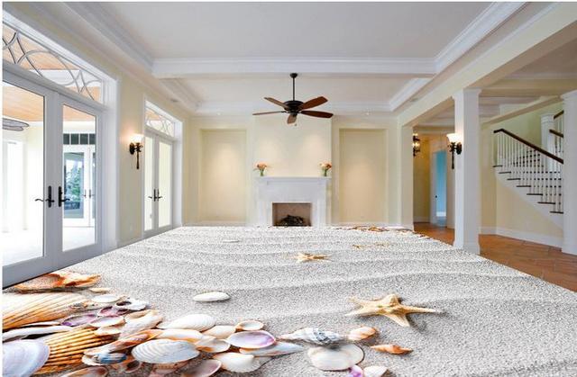 3d piastrelle conchiglie sulla spiaggia di lusso carta da parati 3d