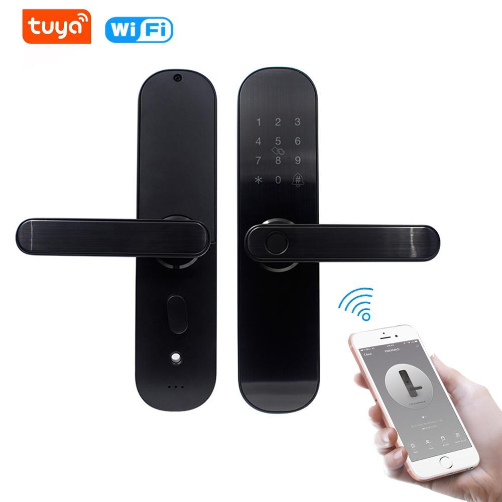 TUYA sécurité serrure numérique intelligente biométrique d'empreintes digitales Bluetooth App serrure de porte avec mot de passe WiFi bouton de clé de carte RFID étanche