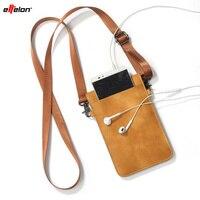 Effelon puレザーユニバーサル携帯電話バッグショルダーポケット財布ポーチケースネックストラップ用サムスン/iphone/huawei社/oppo