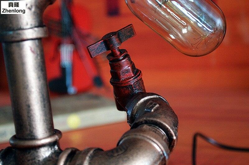 Retro Industriellen Wind E27 LED Edison Glühbirne Studie Bar Cafe Tischlampe Kreative Persönlichkeit Eisen Wasserleitung Schreibtischlampe Decor - 5