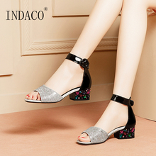 Women Shoes Summer Sandals Leather Ladies Bling Fish mouth Buckle Strap Thick Heel Party