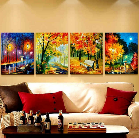 4 Abstract Landscape Wall Art Pictures Palette Knife Oil Painting ...