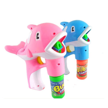 Automatic dolphins bubble gun Two mixed hair with 2 bottles of bubble water electric street children's toys