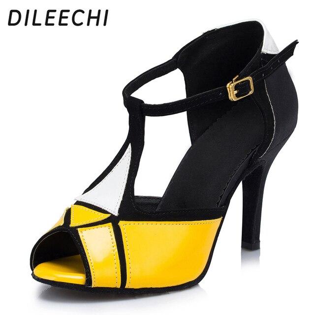 8144964c4 DILEECHI amarillo PU zapatos de baile latino sandalias de mujer de tacón  alto 8