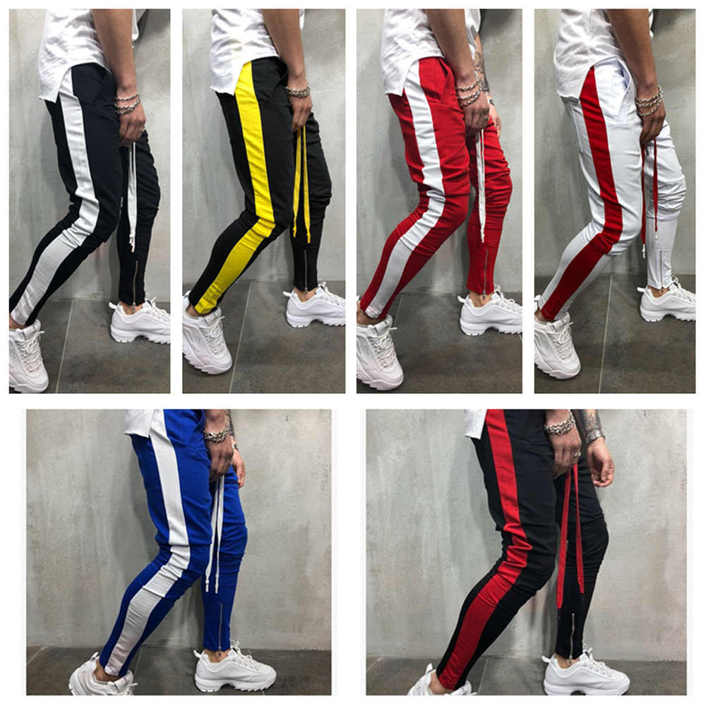 Gyms running pants Mens Slim Fit Sweatpants Drawstring Striped Track Pants Color Block Patchwork Jogging Pant Sports Trousers