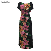 Azalea House 2018 Slash neck Collar Strapless Printed Flower Dress Black printing Loose Pluse tank Floor Length dress for women
