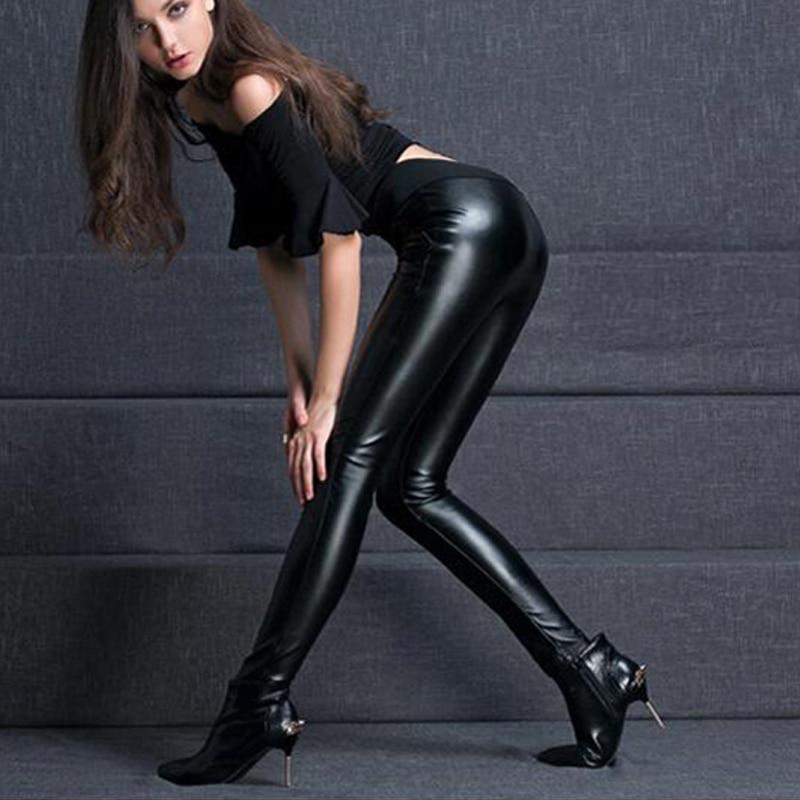 {Guoran} 2018 mujeres pantalones de cuero de cintura alta - Ropa de mujer - foto 3