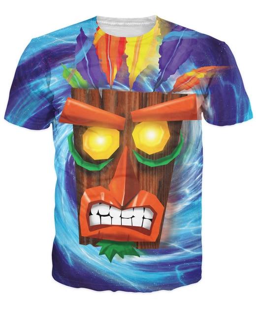 fashion aku aku crash bandicoot printed summer hip hop t shirt
