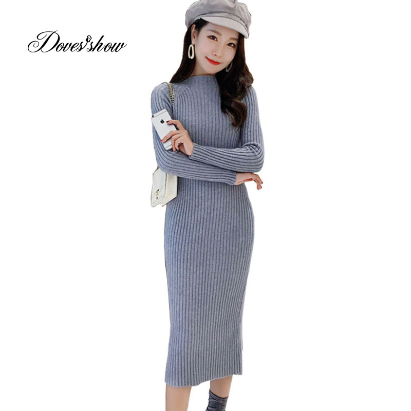 Elastic High Waist Women Knitted Dresses Calf-length Bodycon Pencil Dresses Female Rretro Long Spring Autumn Winter Jupe 637 new fashion spring autumn elastic high waist jeans female tight fitting skinny pants trousers plus size slim pencil pants