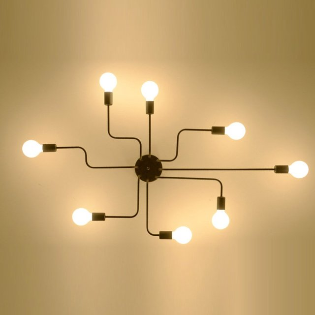 hierro creativo lmpara de techo sala de estar dormitorio retro araa luz de techo moderna nrdico - Lamparas Modernas De Techo